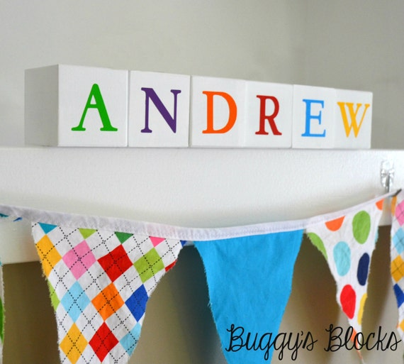 Wooden Neutral White Baby Name Blocks - Photo Prop, Baby Gift and Nursery Decor