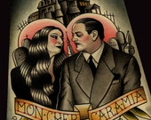 Morticia and Gomez Art Print
