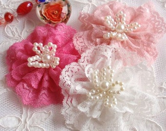 3 Larger Handmade Lace Flowers With Pearl  (3  inches) In Off White Lt Pink Shpocking pink  MY-256  Ready To Ship