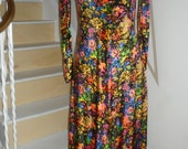 SALE incredible vintage 60s 70s gown dress  unuusal button up neck smalls to meds