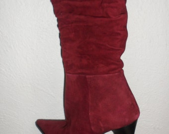 vintage pointy toe suede angela falconi boots  color is amazing size 38 1/2  new old stock closet find