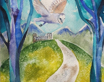 """Tale from the Mabinogion - Original watercolour 8"""" x 8"""""""
