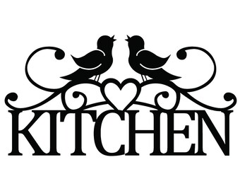Kitchen Metal Sign with Song Birds and Heart - Black, 18.25x9.5, Outdoor Sign, Kitchen Wall Art, Wall Decor, Wall Hanging, Sign, Signage