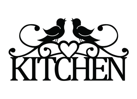 Kitchen Metal Sign With Song Birds And Heart Black