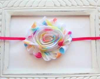 Bright Polka Dot Shabby Flower Headband - Baby Girl Headband, Newborn Girl Headband, Sizes Newborn to Adult