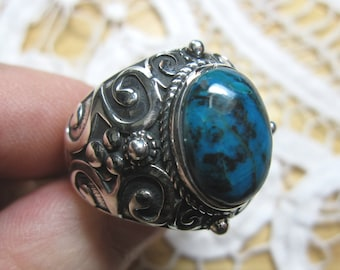 Chrysocolla Sterling Silver Ring Size 10