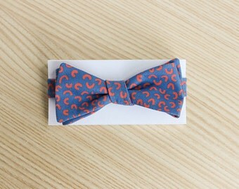 Blue Bow Tie with Red Pattern