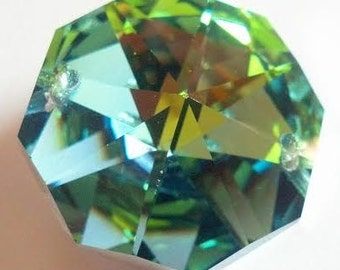 1 METALLIC GREEN 30mm Octagon Chandelier Crystal Prism Wedding Crystal