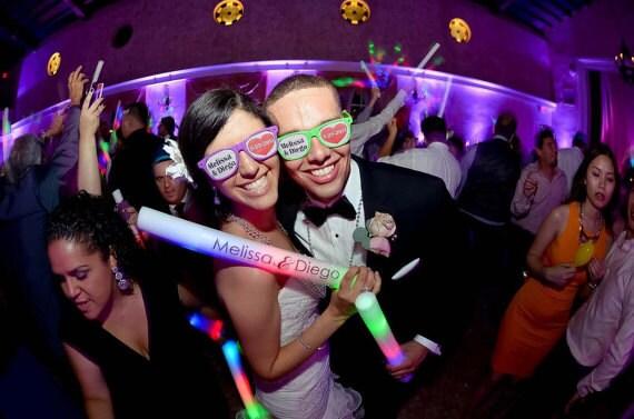 Custom LED 16 Foam Sticks Wedding Party Favors Full