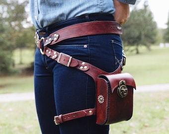 Steampunk Hip Holster Bag Leather Adjustable