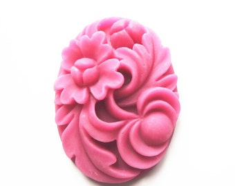 12 pcs of resin floral cameo 30x40mm-0254--hot pink