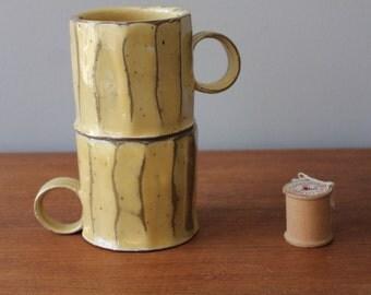 Fluted Creamy Yellow Mug