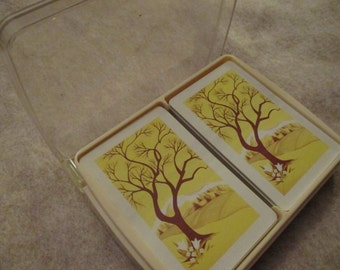 Vintage playing cards two decks in plastic case US playing card company