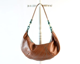 CUSTOM Holly Hobo Slouch Bag with Line Rays Stitching - Design Your Own - Choose Your Colors