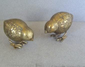 Vintage Brass Quail Chicks (2) - Brass Birds - Vintage Brass Chicks - Woodland Birds