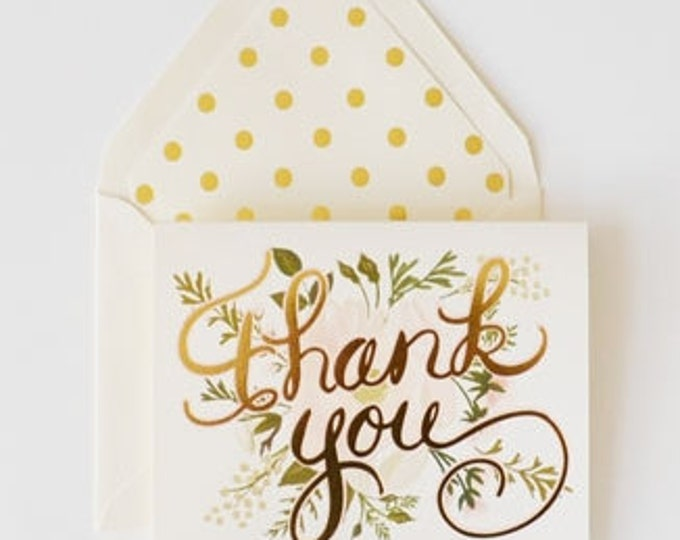 Thank You Card Gold and Blush