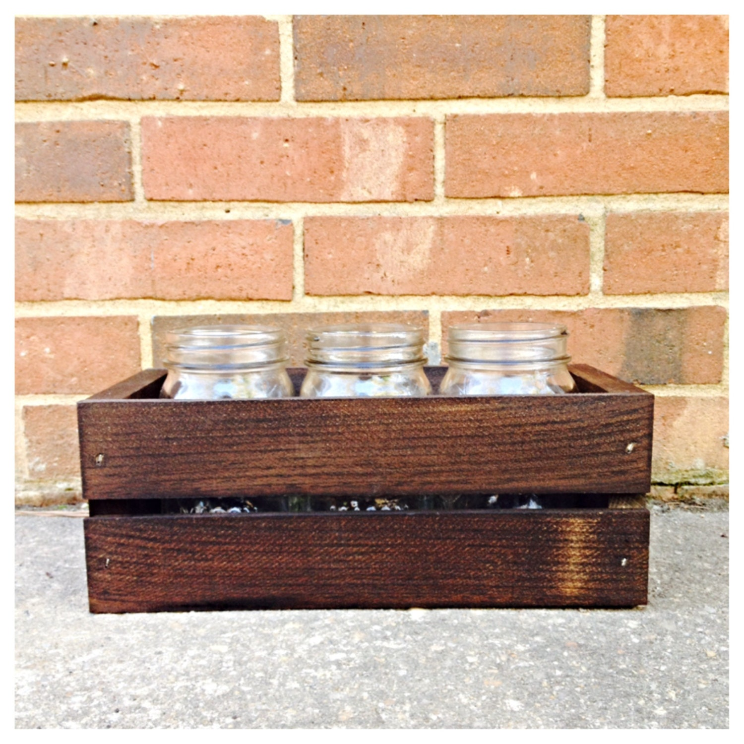 Wooden crate centerpiece for rustic wedding or by