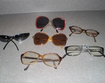 Vintage Lot of Six Pair of Plastic Frame Glasses