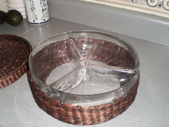 Items similar to wicker basket with three divided sections glass dish on etsy - Divided wicker basket ...