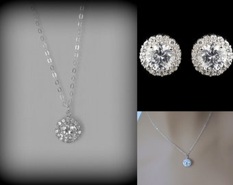 Crystal Bridal Jewelry Set, Crystal Bridesmaid Jewelry Set, Crystal Stud Earrings, Wedding Jewelry