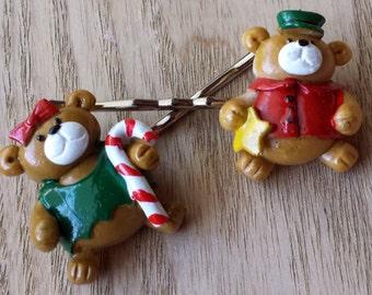 Miniature Holiday Bear Bobby Pin Set