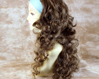 Light Chestnut Brown 3 Quarter Fall Hairpiece Long Curly Layered Half Wig Hair Piece by WIWIGS