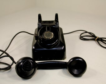 Vintage Industrial Black Crank Wall & Desk Telephone Pre-Rotary Phone by Leich Cool Deco Handset Bakelite?