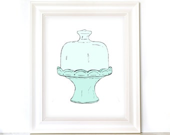 8x10 Cake Stand Print - Hand Drawn - Kitchen Art Print