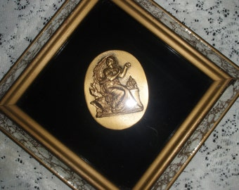 Art Deco Wall Hanging Shadow box with Grecian style Goddess in Gold Veined Mirror Framed, Retro wall art