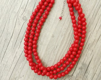 Bright red necklace,Three strand red pearl necklace,pearl necklace,red bridesmaids gift, red jewelry,Red multistrand necklace,red pearls,red