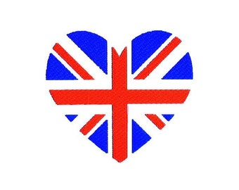 Union Jack Heart Union Flag Embroidery Design