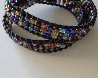 Double Wrap Leather Bracelet with Czech Glass Beads