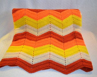 Vintage Chevron Patterned Orange, Yellow and Rust Crocheted  Afghan