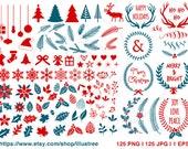 125 Christmas clipart, digital clip art set, mega pack, design elements for cards, scrapbooking, commercial use, EPS, SVG files, download