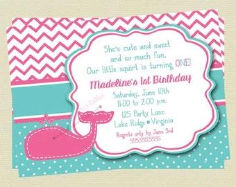 Girl Whale Birthday Invitation/Birthday Invite/Teal and Pink Whale Invite/Birthday Invite/Nautical Invite/DIY Printable File