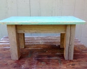 Aqua Seaglass Plant Bench - Weathered Chippy Paint Table - Repurposed and Handmade - Free Shipping