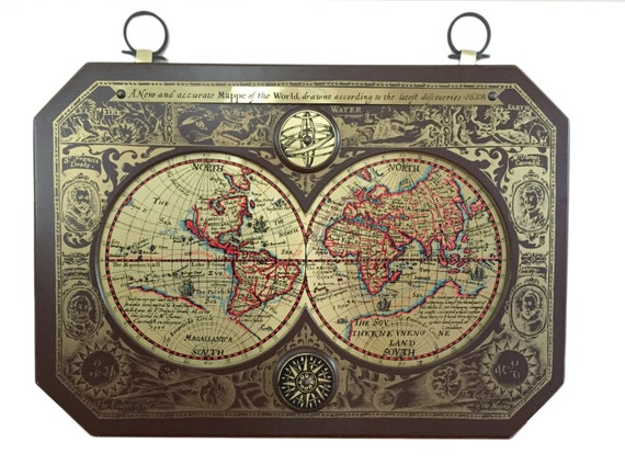 LARGE Vintage Masketeers Inc Brass World Map Mid Century