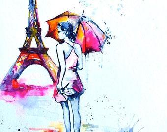 Watercolor Illustration Parisian Girl - Figurative Watercolor Painting - Paris Collection by Lana Moes - Art Print