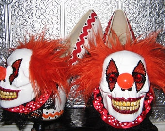 evil skull clown heels with details and glittered soles