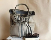 Large tote in natural linen and grey stripped cotton