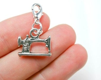 Sewing Machine Charm - Bracelet Charm - Clip On Necklace Charm - Love to Sew Zipper Charm - SCC40