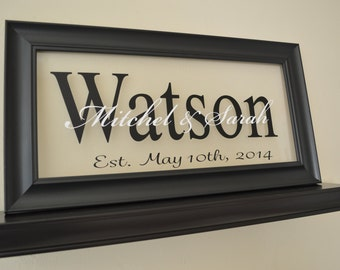 "Family Established Sign Personalized Family Name Sign Last Name Sign 11"" x 21"""