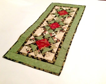 Christmas Table Topper, Red Green Table Topper, Holiday Table, Angels, Holly