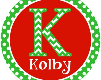 Iron on Transfer DIY - Childrens Christmas Iron On - Custom Personalized Name Iron on for Christmas -  S is for Skypie in Green