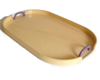 Mid Century Georges Briard Tray, Yellow Lucite with Purple Handles, Signed,  Rectangular, Vintage Home Decor,