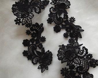 black Lace Applique, bridal headpiece applique, 2 pcs
