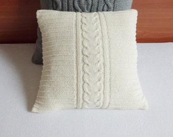 Cable Knit Off-White Pillow Case, Throw Pillow, Hand Knitted Pillow Cover, Decorative Couch Pillow, 16X16 Knit Pillow Case
