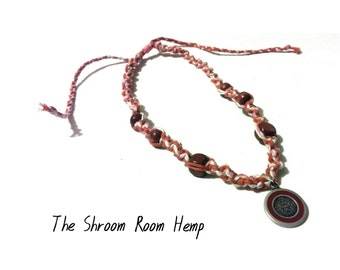 SALE // Sterling Silver Pendant Hemp Necklace Stamped 925 Orange, Pink, Red, Natural, Wooden Beads
