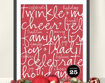 Christmas Handwritten Words Printable, Instant Download