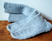 Heather Grey Wool Blend Handknit Socks: Size L